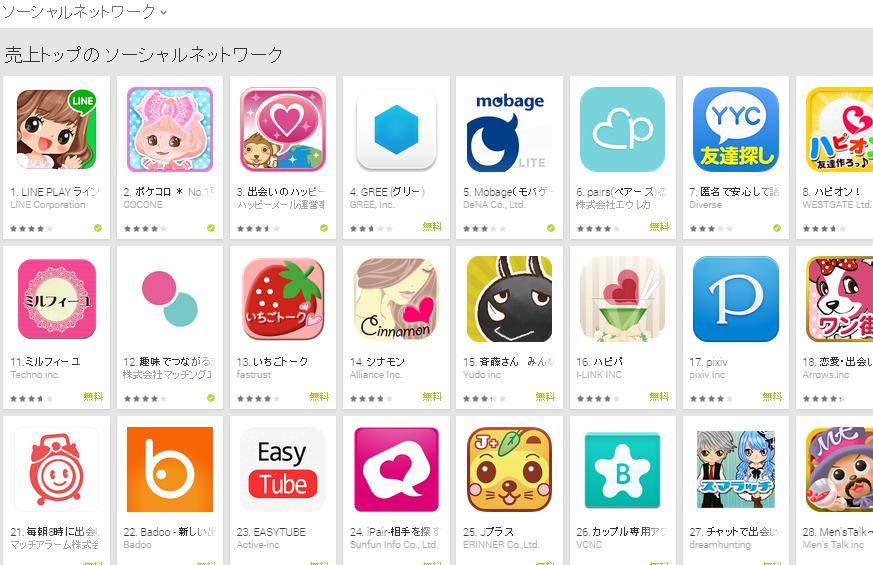 Google Play週次ランキング(12/15) ハッピーメールが再び3位に浮上
