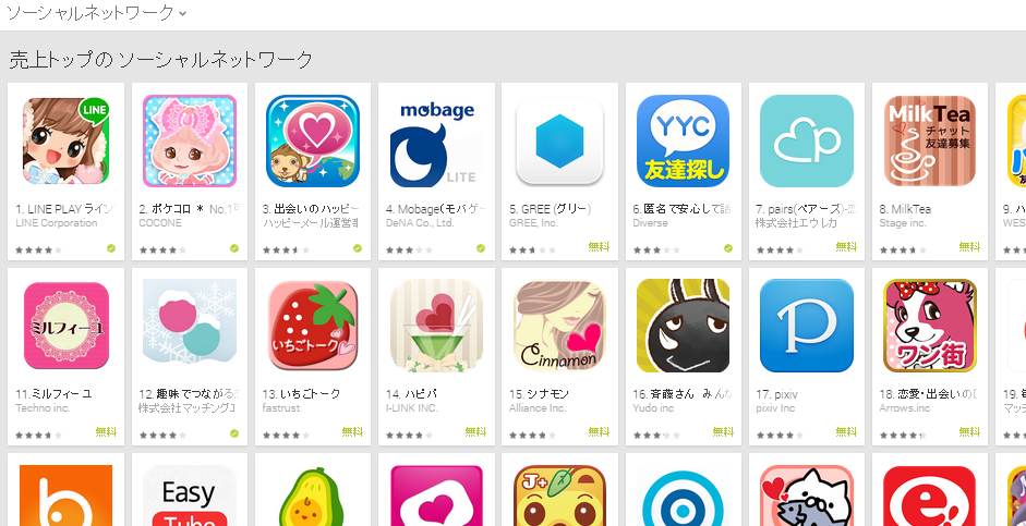 Google Play週次ランキング(12/22) アボカドが好調