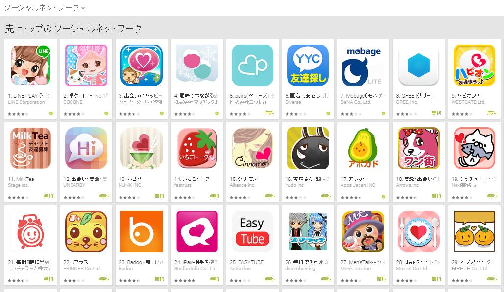 Google Play週次ランキング(1/19) タップル誕生4位に上昇