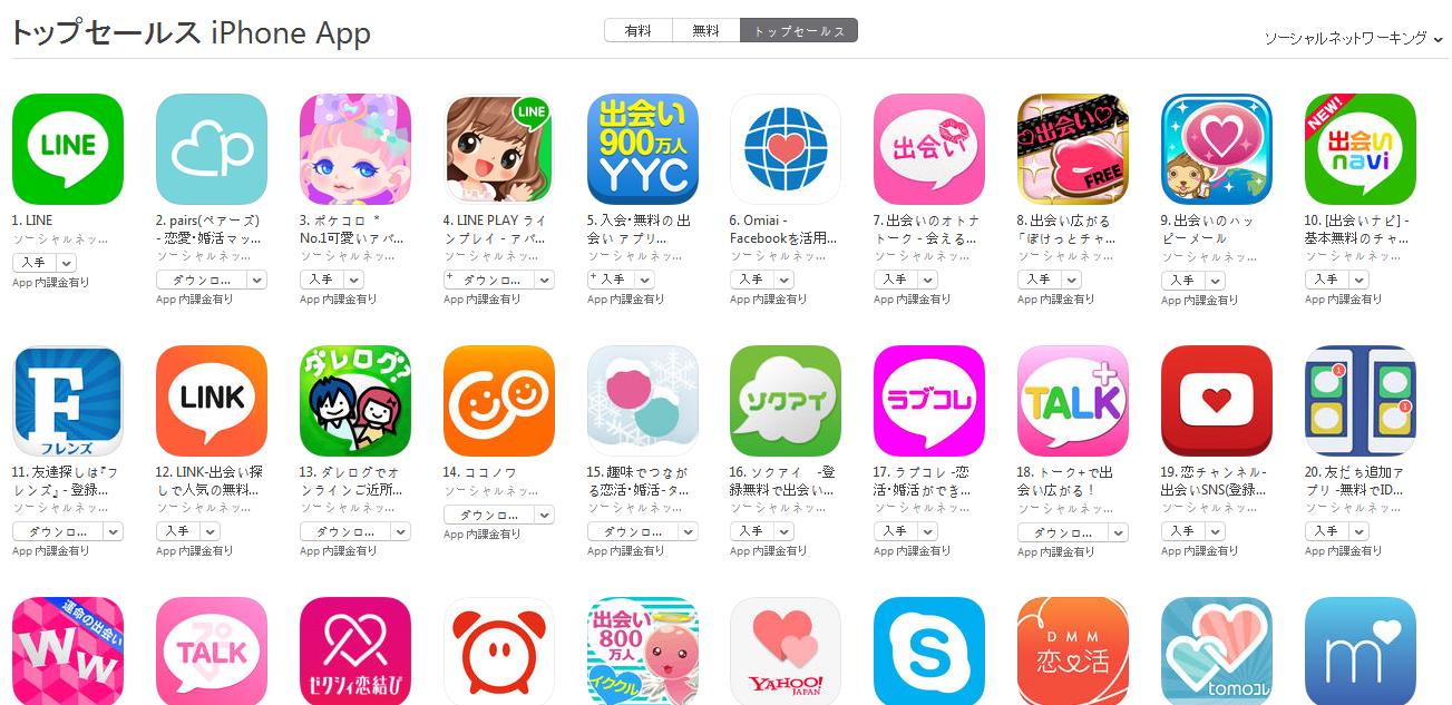 App Store週次ランキング(5/11) pairs(ペアーズ)が2位に上昇