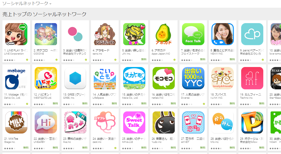 Google Play週次ランキング(8/17) フェイストークが上昇