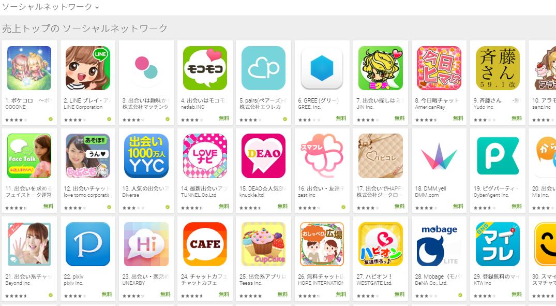 Google Play売上ランキング(ソーシャルネットワークカテゴリー)(1/25) グリーが上昇