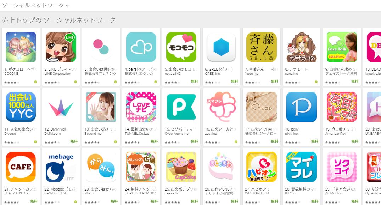 Google Play売上ランキング(ソーシャルネットワークカテゴリー)(2/1) ペアーズが4位に浮上