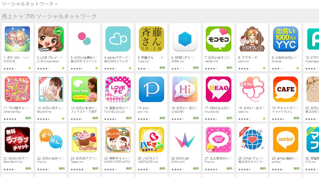 Google Play売上ランキング(ソーシャルネットワークカテゴリー)(2/15) YYCが再びトップ10入り