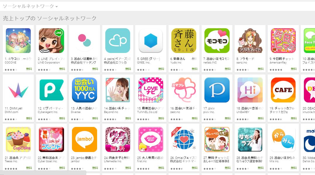 Google Play売上ランキング(ソーシャルネットワークカテゴリー)(2/22) DMM.yellが大幅に上昇