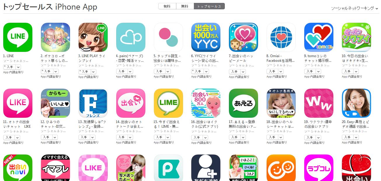 App Store(ソーシャルネットワーキング トップセールスランキング)(2/1) tomoコレが再びトップ10に浮上