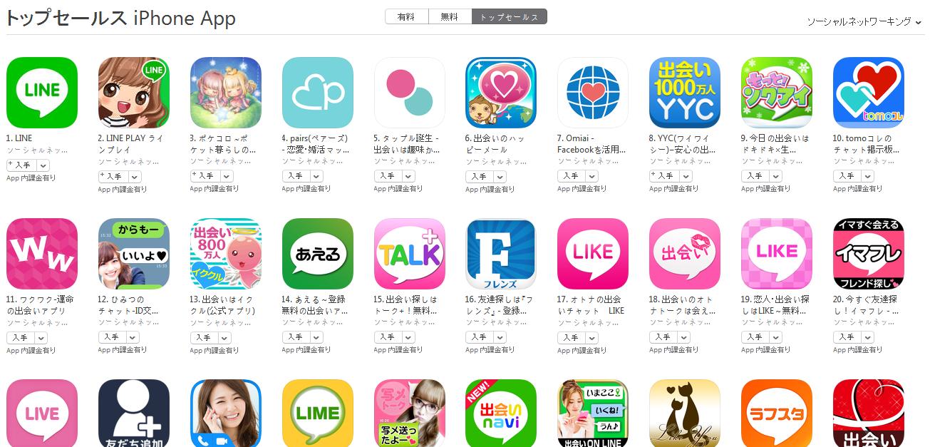 App Store(ソーシャルネットワーキング トップセールスランキング)(2/8) ワクワクが急上昇