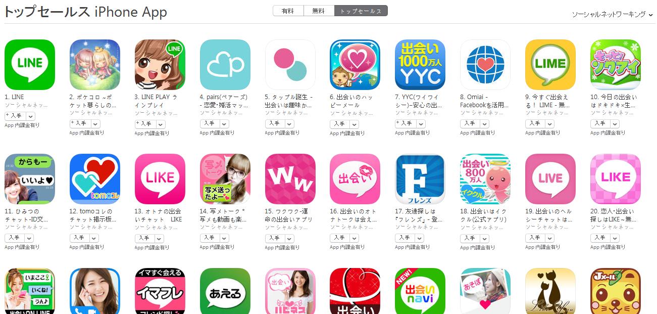App Store(ソーシャルネットワーキング トップセールスランキング)(2/15) LIMEが急上昇