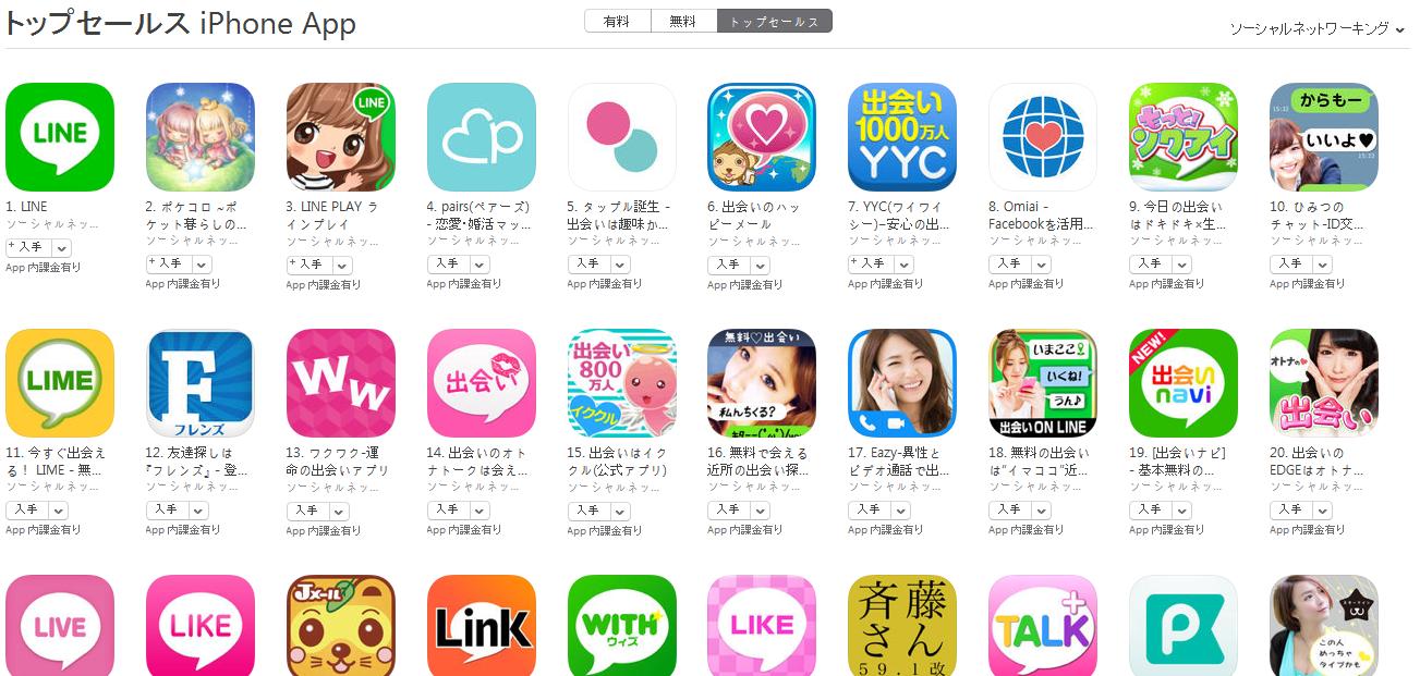App Store(ソーシャルネットワーキング トップセールスランキング)(2/29) ひみつのチャットがトップ10に浮上