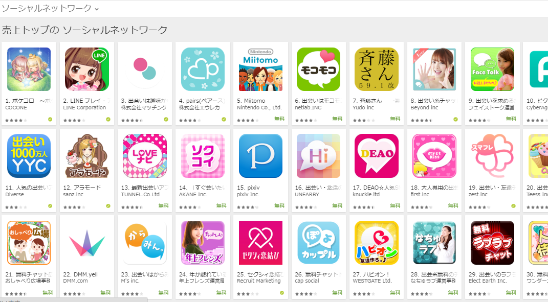 Google Play売上ランキング(ソーシャルネットワークカテゴリー)(3/28) 任天堂のMiitomoが急上昇