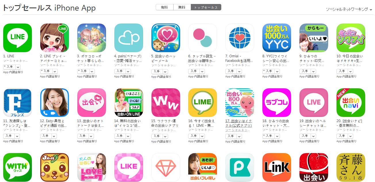 App Store(ソーシャルネットワーキング トップセールスランキング)(3/14) ひみつのチャットがトップ10入り