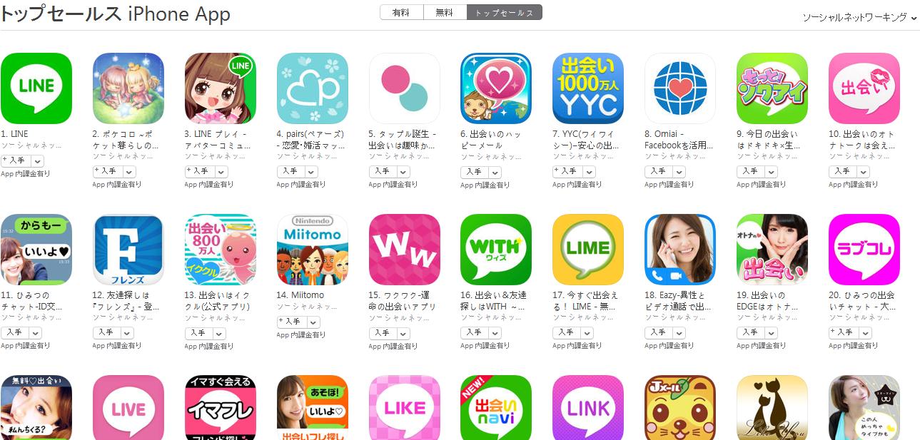 App Store(ソーシャルネットワーキング トップセールスランキング)(3/21) ポケコロが2位に上昇