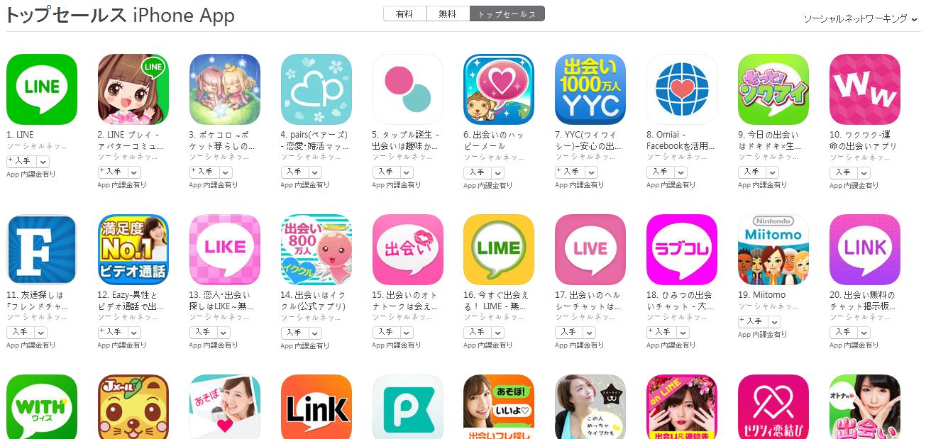 App Store(ソーシャルネットワーキング トップセールスランキング)(3/28) ワクワクがトップ10入り