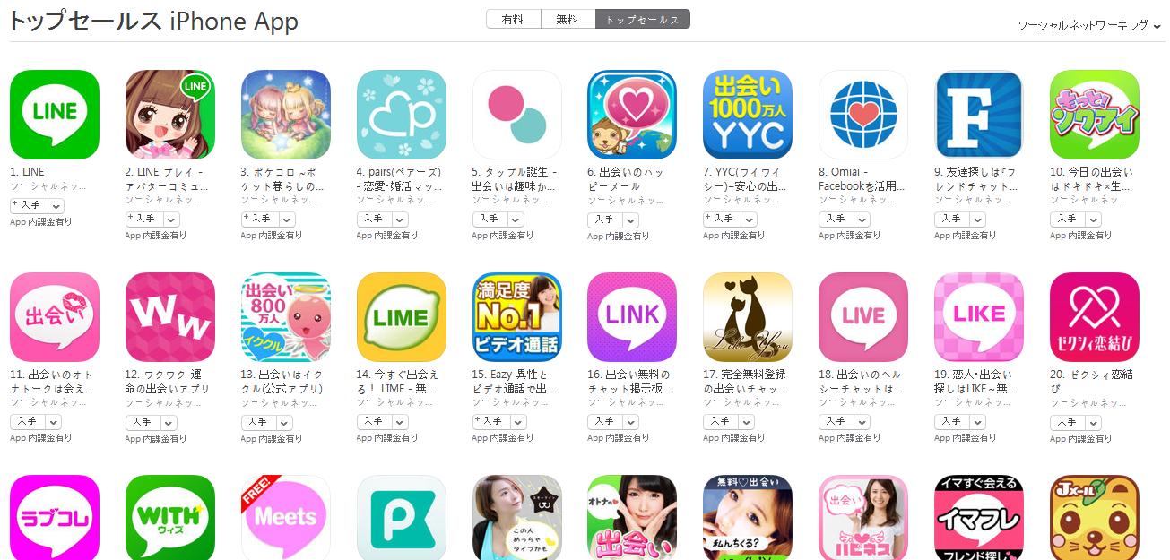 App Store(ソーシャルネットワーキング トップセールスランキング)(4/4) 友達探しは『フレンズ』がトップ10入り