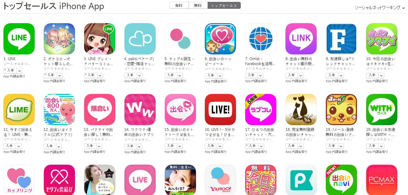 App Store(ソーシャルネットワーキング トップセールスランキング)(5/23) LINE PLAYが再び上昇