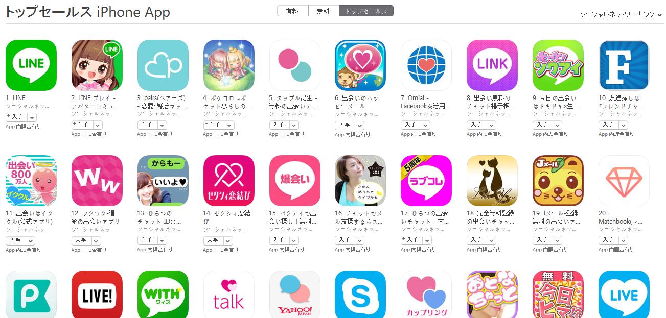 App Store(ソーシャルネットワーキング トップセールスランキング)(6/6) pairs(ペアーズ)が2位に上昇