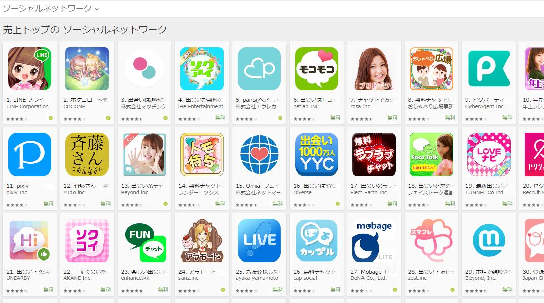 Google Play売上ランキング(ソーシャルネットワークカテゴリー)(7/4) ピグパーティが上昇
