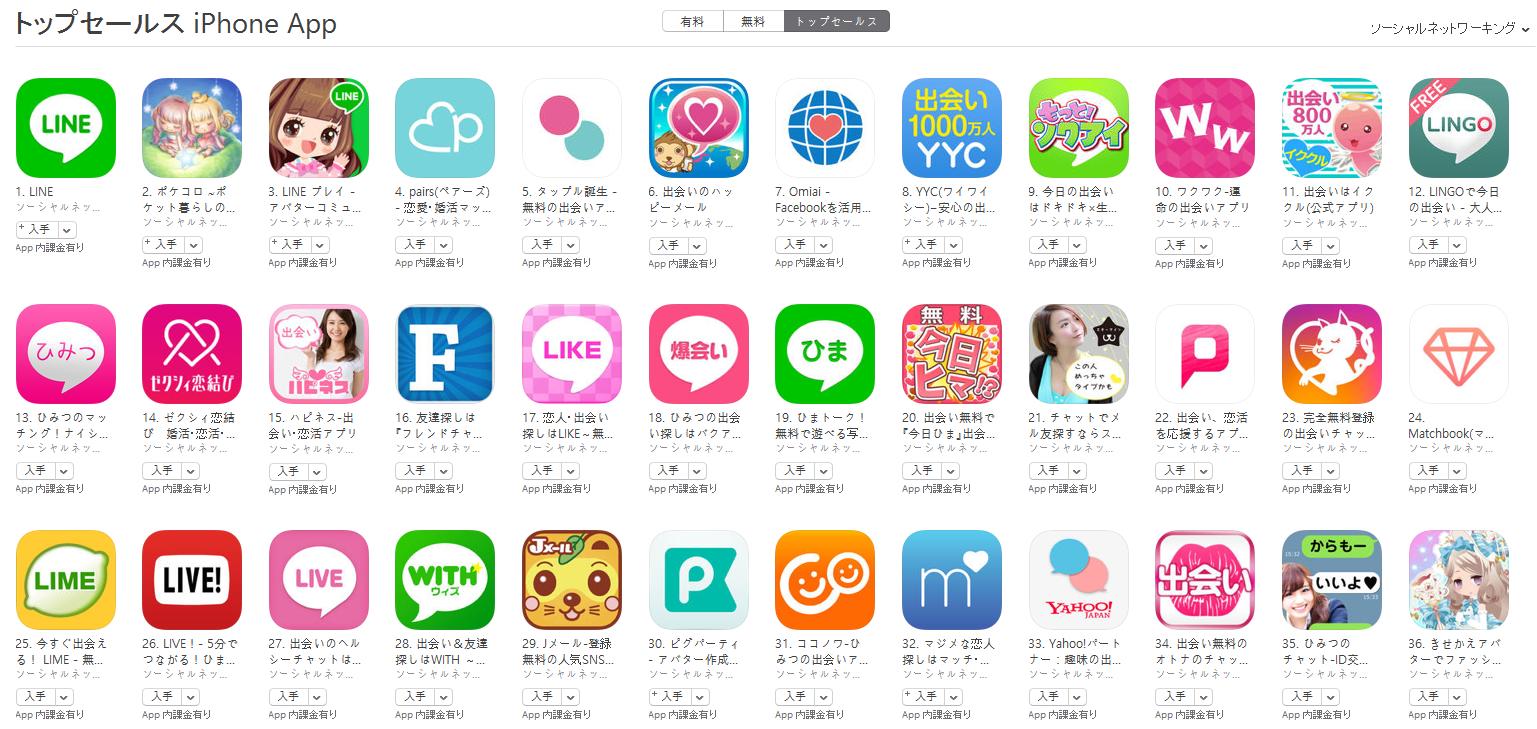 App Store(ソーシャルネットワーキング トップセールスランキング)(8/15) ポケコロが2位に上昇