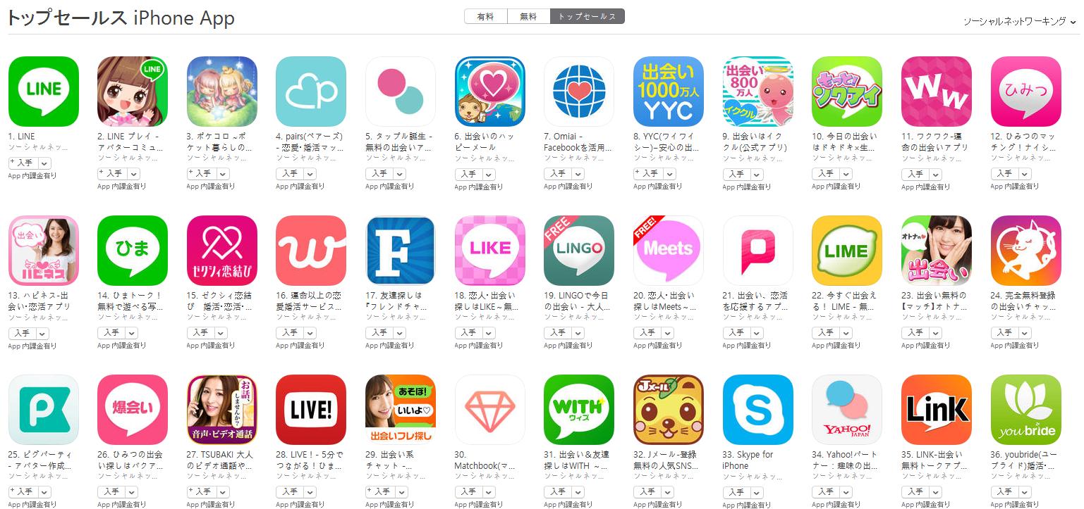 App Store(ソーシャルネットワーキング トップセールスランキング)(8/29) イククルが9位に上昇