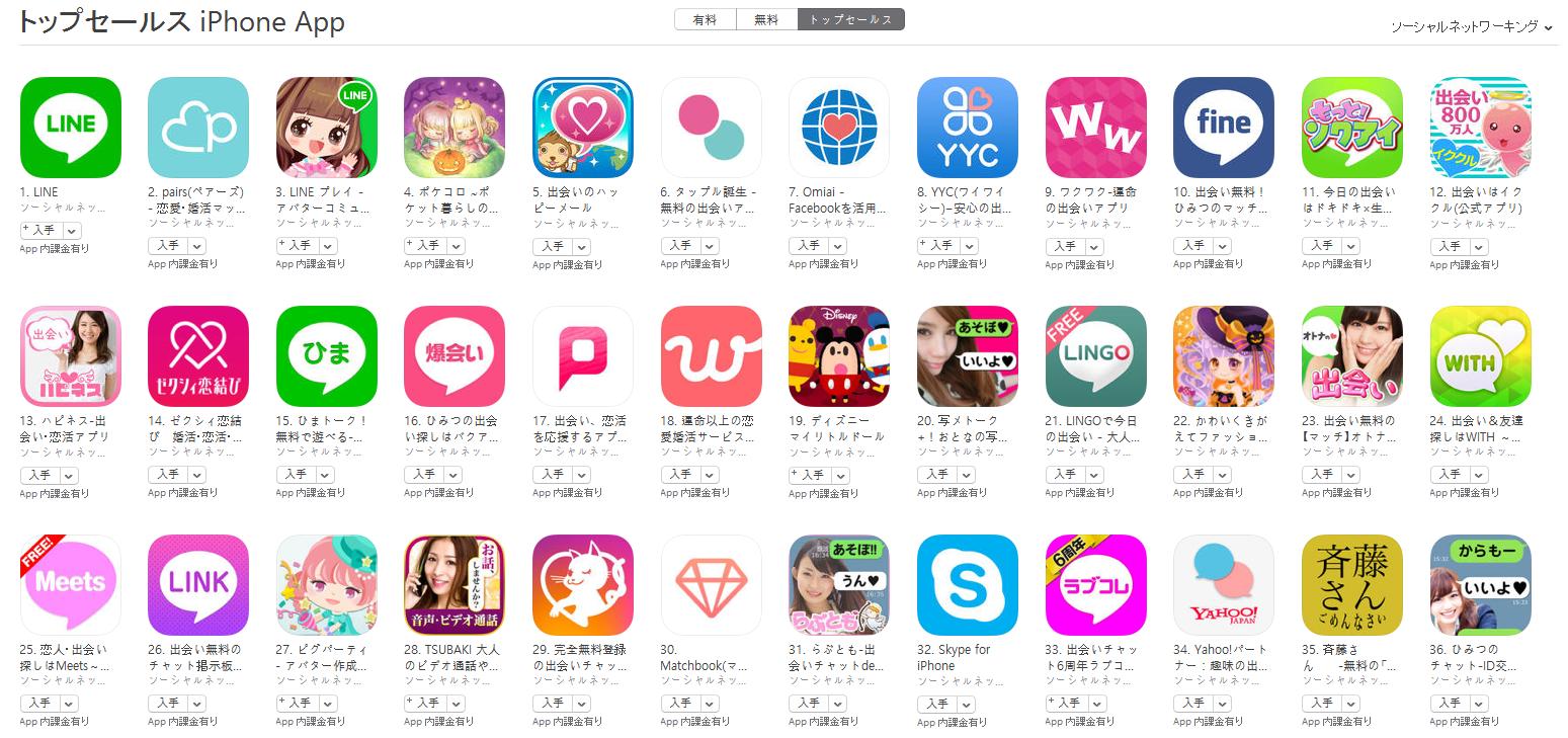 App Store(ソーシャルネットワーキング トップセールスランキング)(10/24) pairs(ペアーズ)が2位に上昇