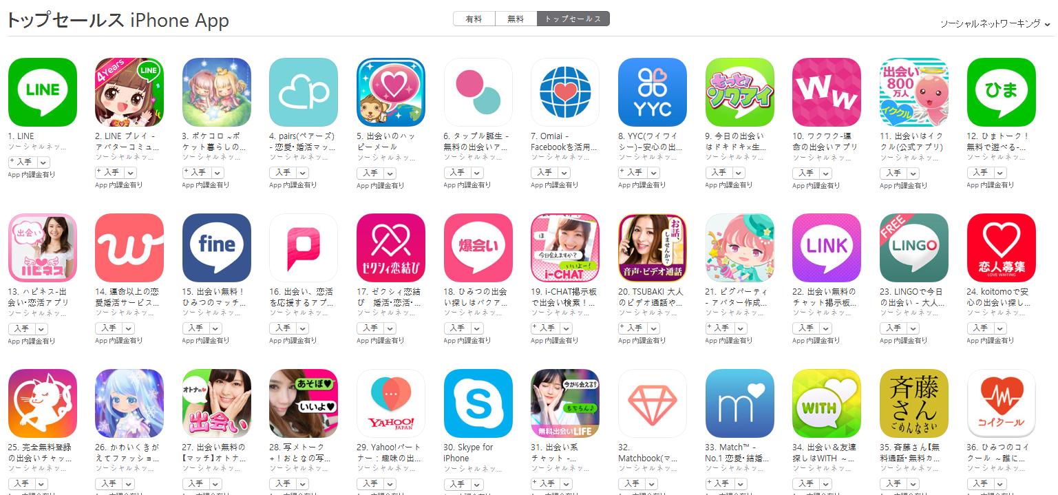 App Store(ソーシャルネットワーキング トップセールスランキング)(11/7) ひまトーク!が再び上昇