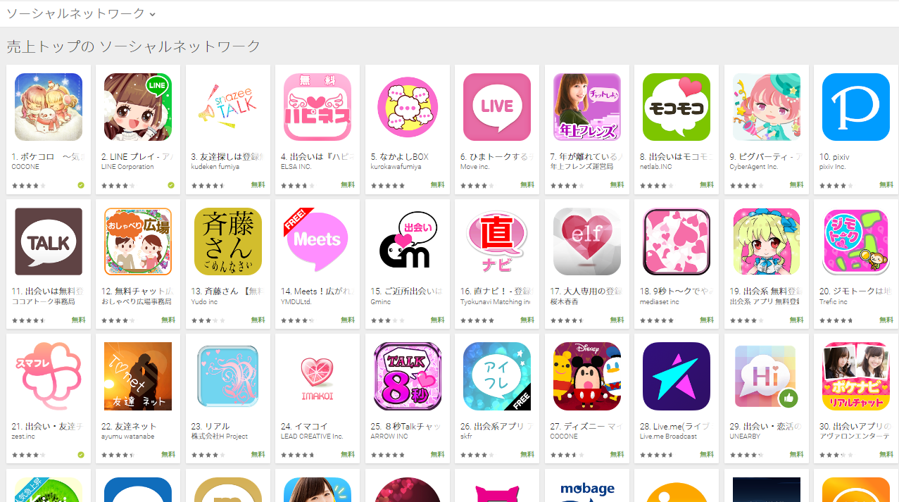 Google Play売上ランキング(ソーシャルネットワークカテゴリー)(1/9) snazeeが3位にランクイン