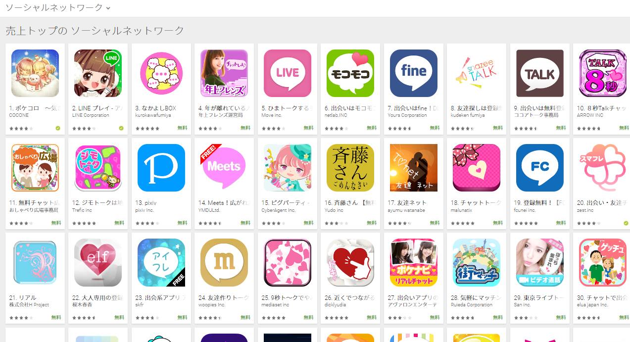 Google Play売上ランキング(ソーシャルネットワークカテゴリー)(1/23) 年上フレンズが4位にランクイン