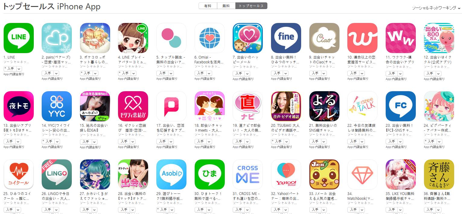 App Store(ソーシャルネットワーキング トップセールスランキング)(1/23) pairs(ペアーズ)が2位に上昇
