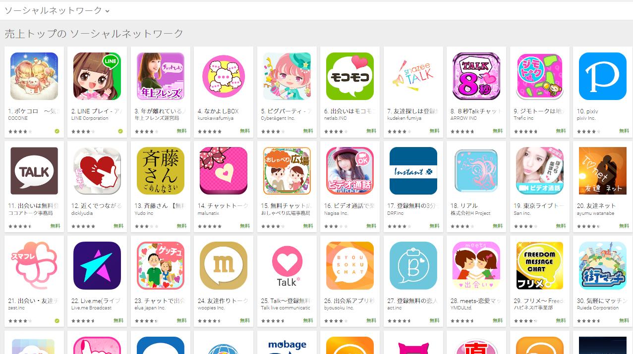 Google Play売上ランキング(ソーシャルネットワークカテゴリー)(2/6) ピグパーティが急上昇