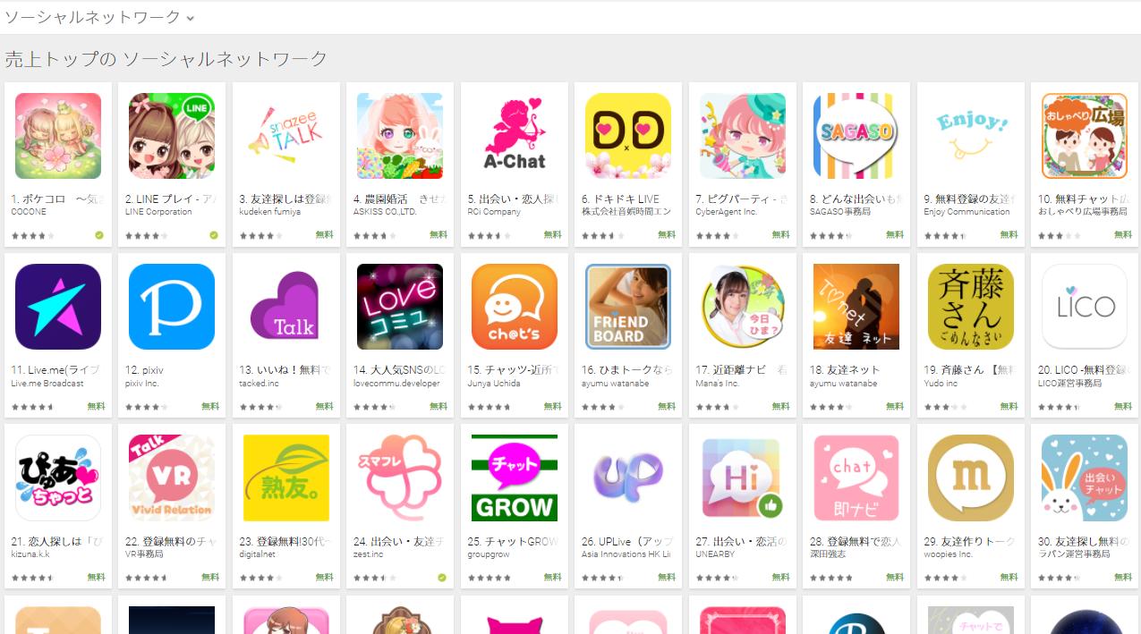 Google Play売上ランキング(ソーシャルネットワークカテゴリー)(4/17) A-Chatが5位にランクイン