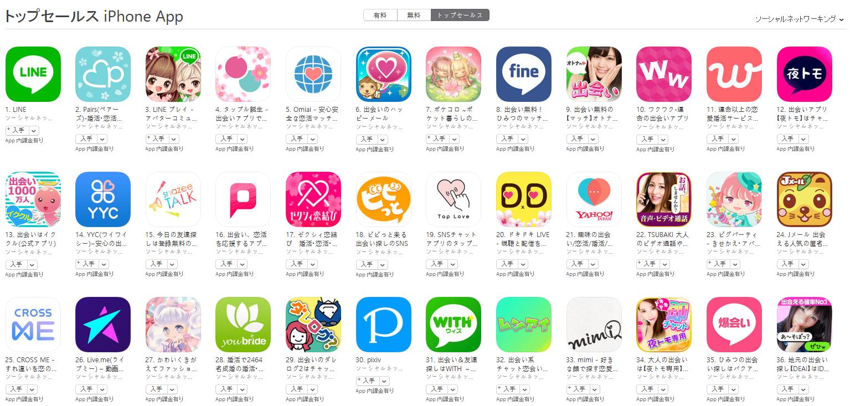 App Store(ソーシャルネットワーキング トップセールスランキング)(4/10) pairs(ペアーズ)が2位に上昇