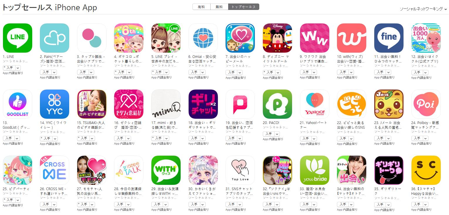 App Store(ソーシャルネットワーキング トップセールスランキング)(9/11) pairs(ペアーズ)が2位に上昇