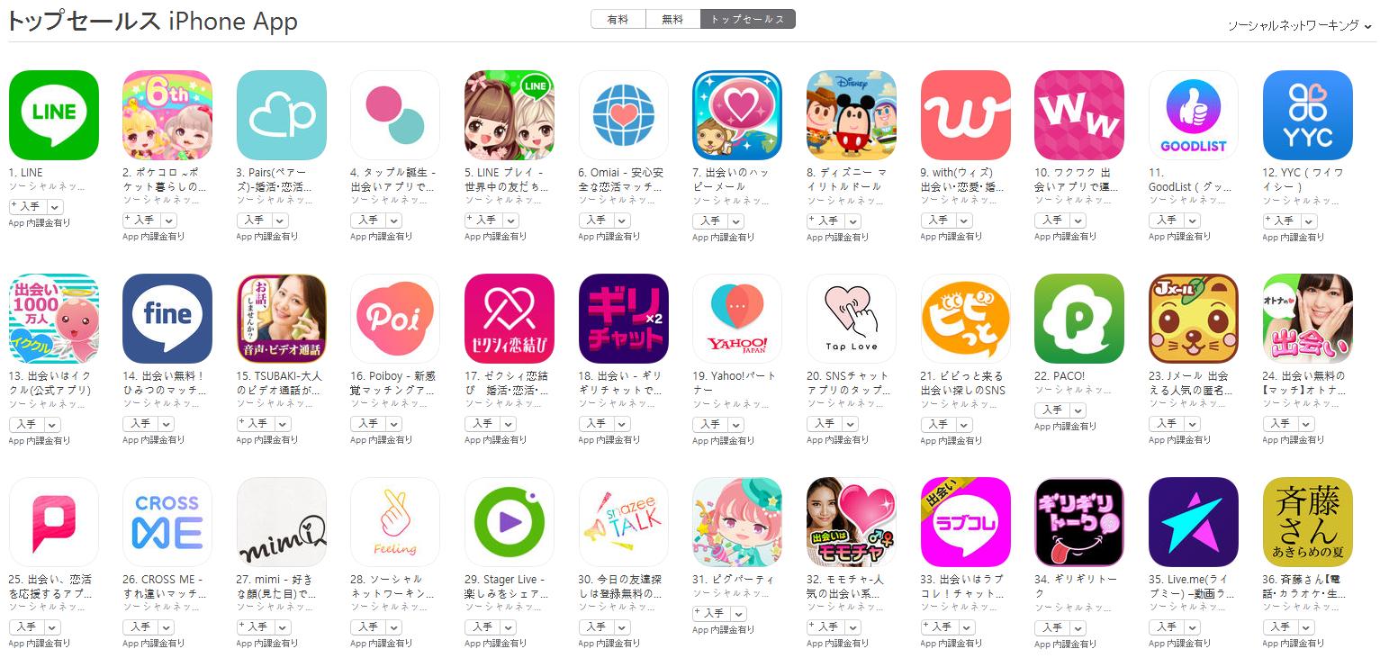 App Store(ソーシャルネットワーキング トップセールスランキング)(9/18) ポケコロが2位に上昇
