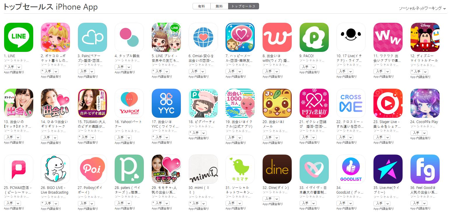 App Store(ソーシャルネットワーキング トップセールスランキング)(1/22) マッチがトップ10間近