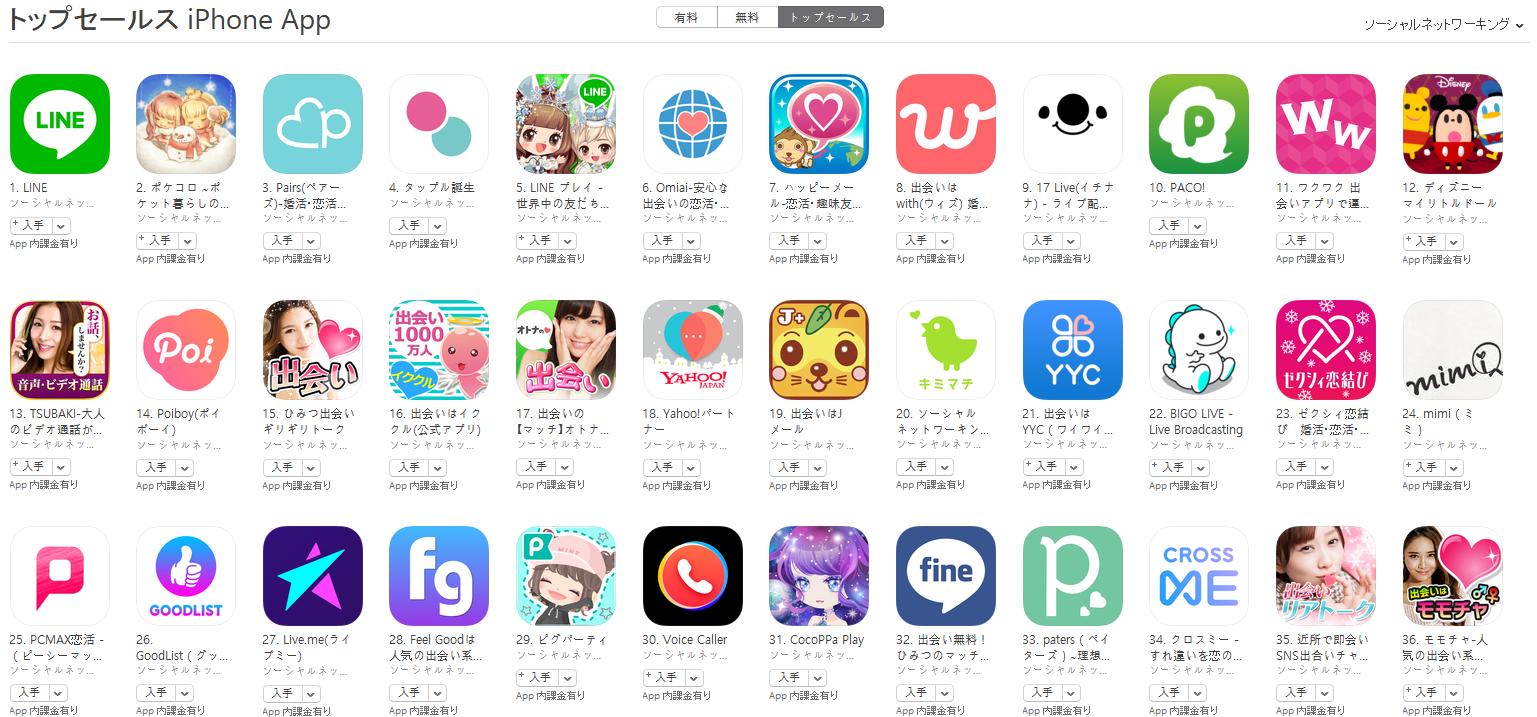 App Store(ソーシャルネットワーキング トップセールスランキング)(1/15) 17 LIVEが上昇