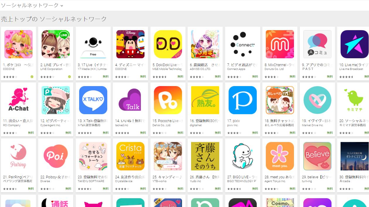 Google Play売上ランキング(ソーシャルネットワークカテゴリー)(2/19) ディズニー マイリトルドールが4位にランクイン