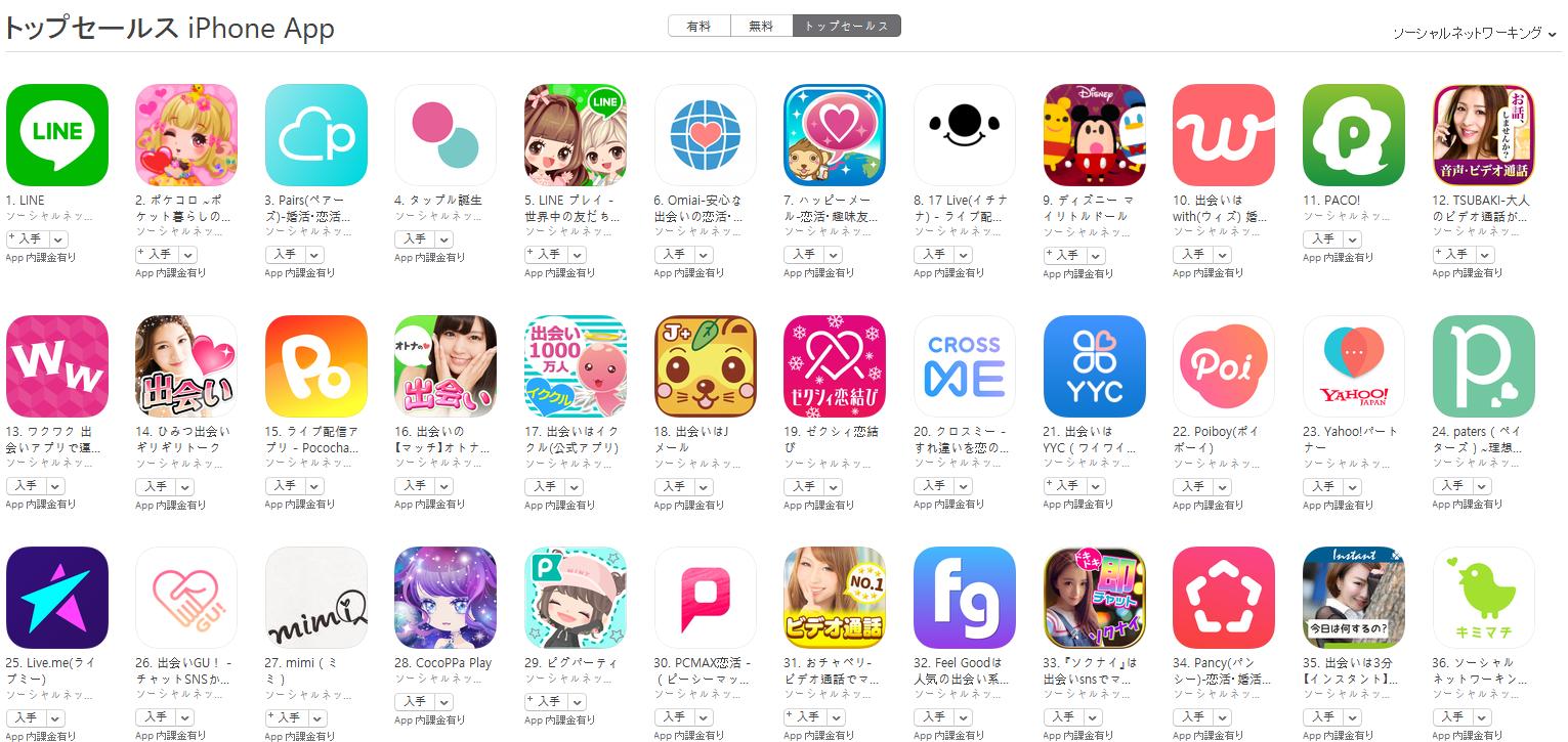 App Store(ソーシャルネットワーキング トップセールスランキング)(2/19) ポケコロが2位に上昇