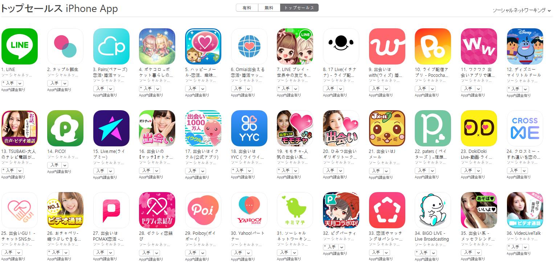 App Store(ソーシャルネットワーキング トップセールスランキング)(4/30) Pococha Liveが10位に上昇