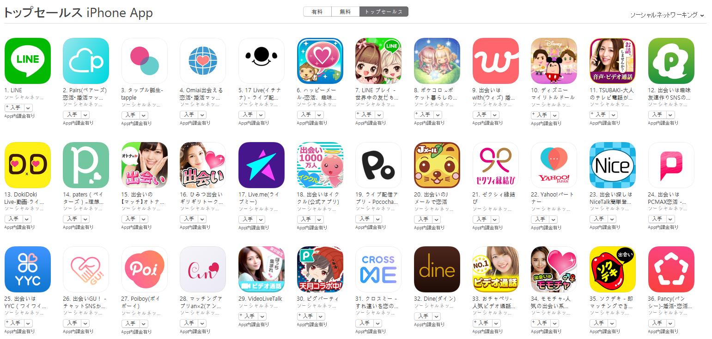 App Store(ソーシャルネットワーキング トップセールスランキング)(6/11) 17 LIVEが5位に上昇