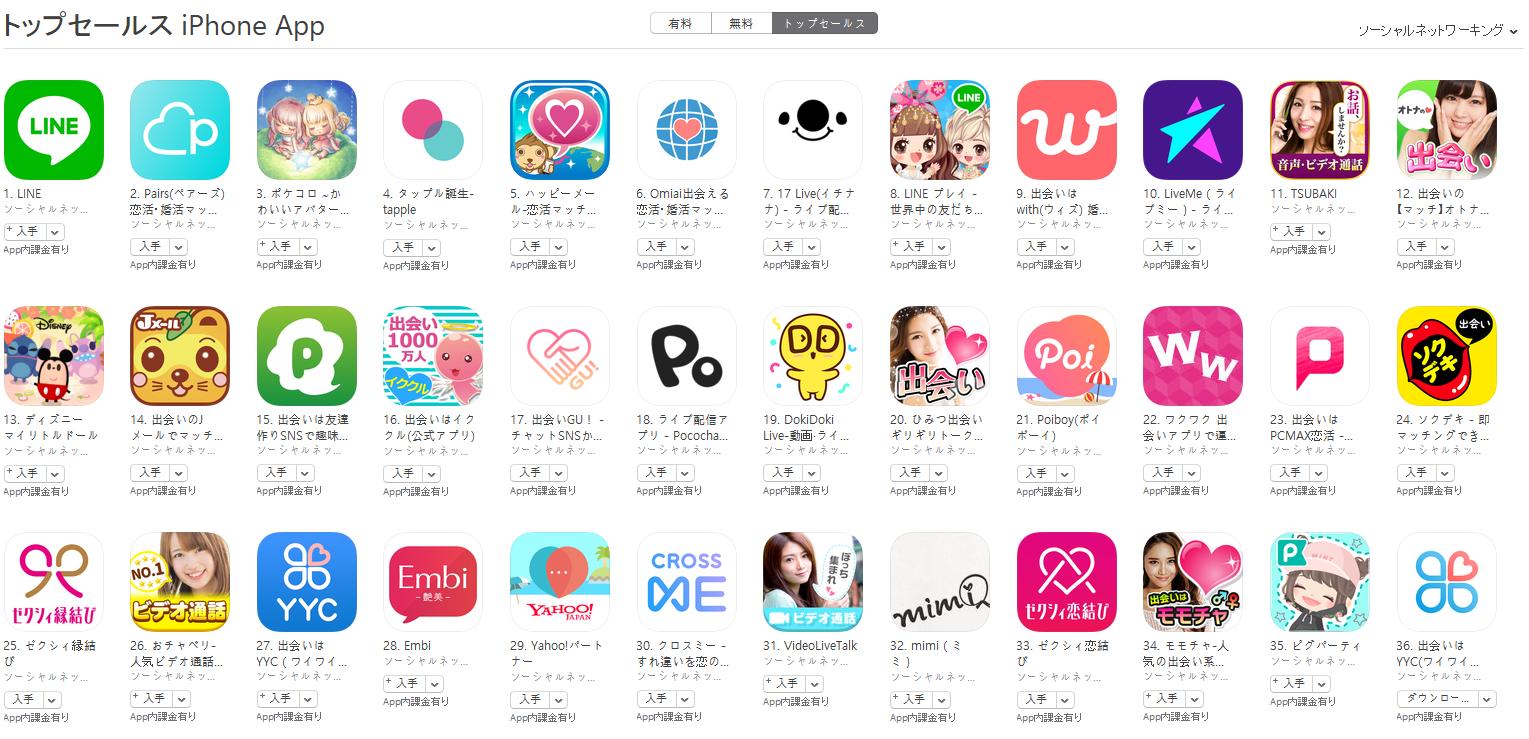 App Store(ソーシャルネットワーキング トップセールスランキング)(7/26) ポケコロが3位に上昇