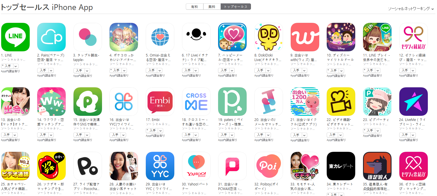 App Store(ソーシャルネットワーキング トップセールスランキング)(11/26) ポケコロが大きく上昇