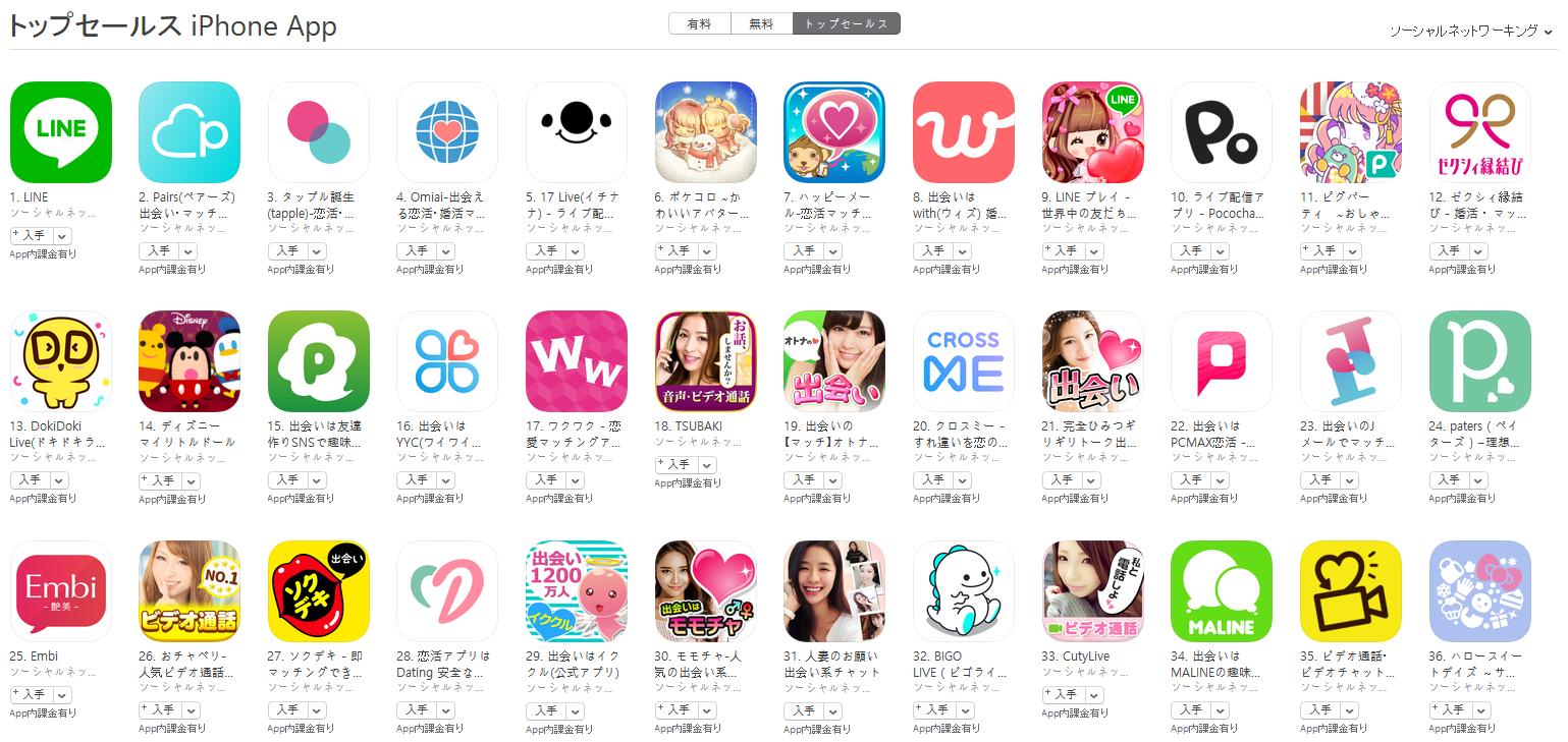 App Store(ソーシャルネットワーキング トップセールスランキング)(1/21) Pococha Liveが10位に上昇