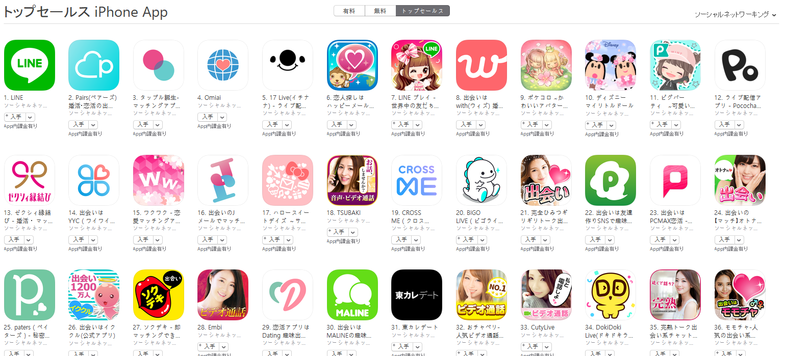 App Store(ソーシャルネットワーキング トップセールスランキング)(3/25) ディズニー マイリトルドールが10位に上昇