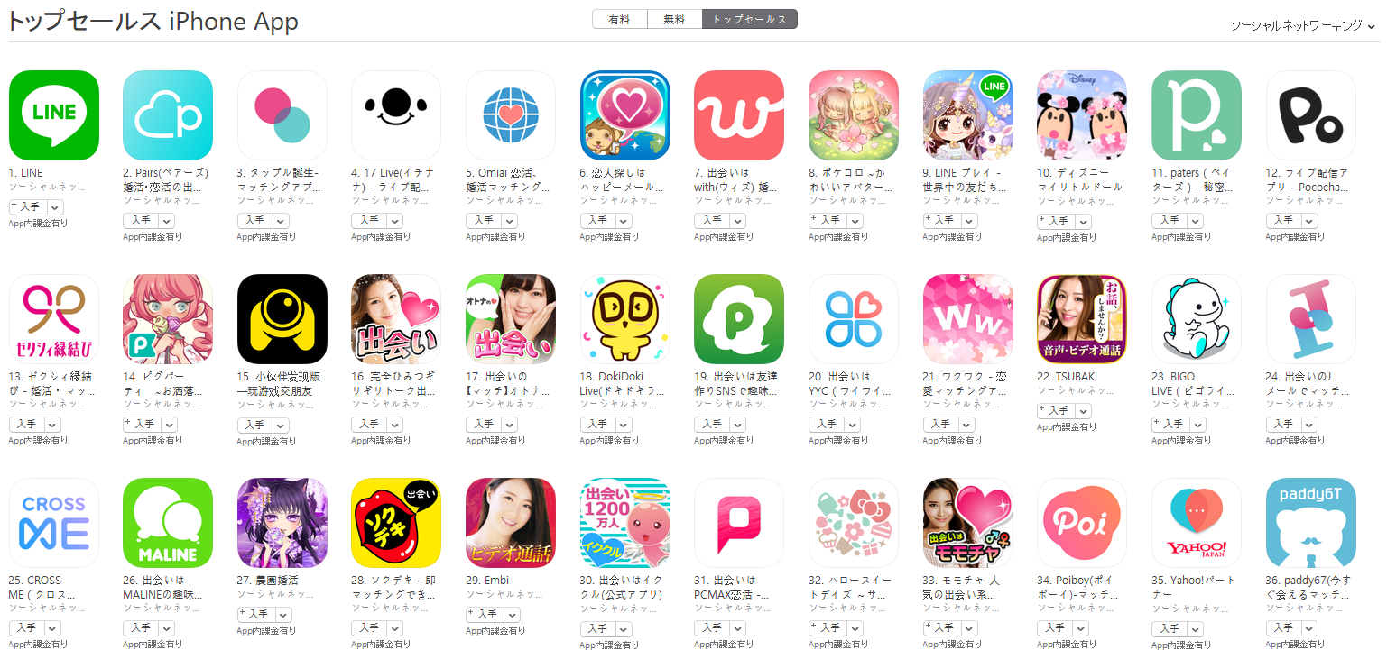 App Store(ソーシャルネットワーキング トップセールスランキング)(4/8) 17 LIVEが上昇