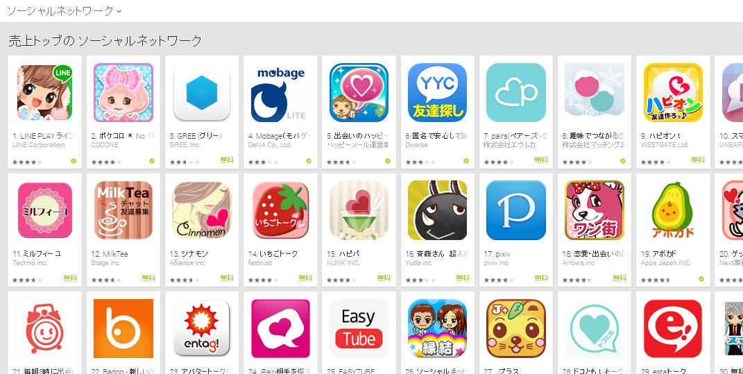 Google Play週次ランキング(1/5)