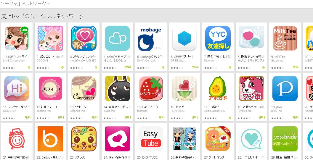 Google Play週次ランキング(1/12) ペアーズが4位に上昇