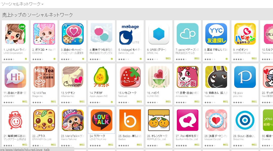 Google Play週次ランキング(1/26) ペアーズが一歩後退