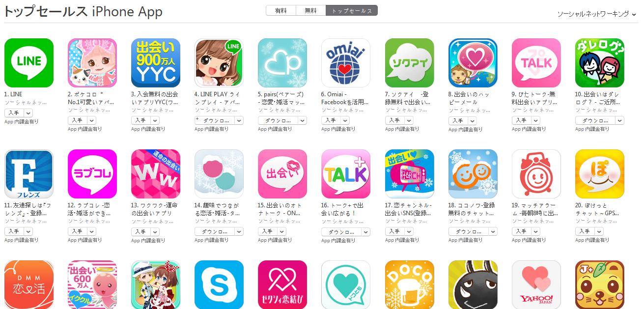 App Store週次ランキング(2/16) Pairs、Omiaiに変動なく膠着状態続く