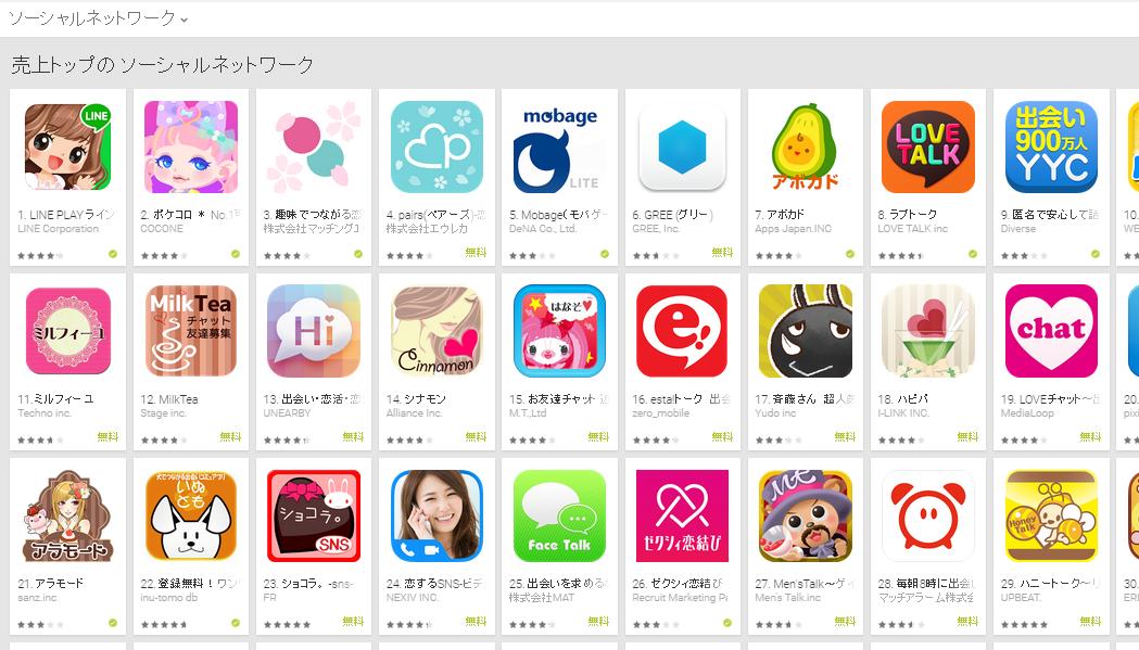 Google Play週次ランキング(3/23) タップル誕生、ペアーズ共に上昇