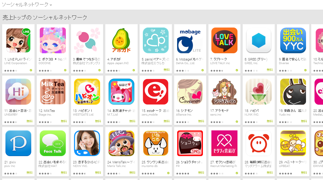 Google Play週次ランキング(3/30) アボカドが好調